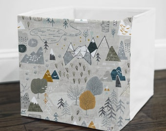 Max's Map // Storage Bin Cover // Fits into Ikea KALLAX or EXPEDIT shelf unit  // Ikea DRONA Box Cover