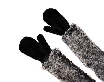 Childrens Long Mittens, toddler mittens, baby mittens, black mittens, gray
