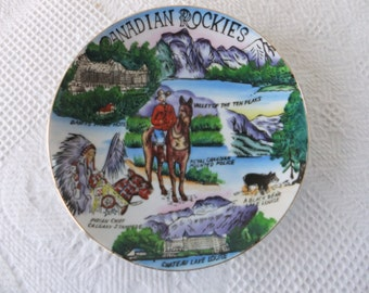 Vintage Canadian Rockies Hand Painted Souvenir Plate Decorative Collector Canada Travel Vacation Mountains