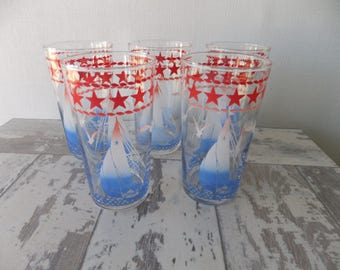 Vintage Sailboat with Stars Glasses Tumblers Red White and Blue Set of 5 Nautical Sailing