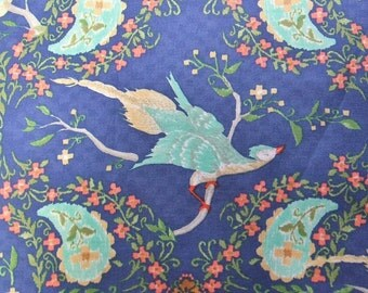 Wildwood Pheasant Blue Bird Blend Ana Davis Cotton Fabric Yard