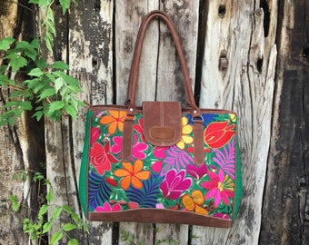 Vintage Guatemalan purse floral embroidery leather, messenger bag, rococo embroidery purse, laptop purse, Guatemala briefcase, Guatemala bag