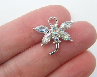 BULK 20 Clear rhinestone dragonfly pendant silver plated A400