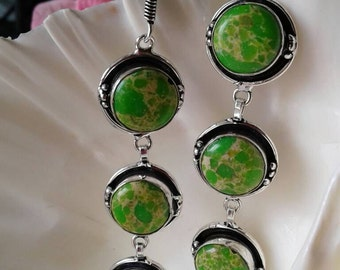 Green Copper Turquoise Earrings,Variscite Earrings