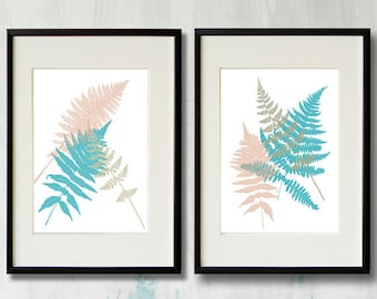 Botanical Ferns - set of two spring art prints - turquoise, peachy, taupe - digital paintings for home and office - wall art, fern prints