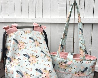 Diaper bag set: includes, custom diaperbag, car seat canopy in boho fabric with lace detail