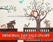 Memorial Day Sale - Tree with Forest Friends Decal Set - Kid's Nursery Room Wall Sticker