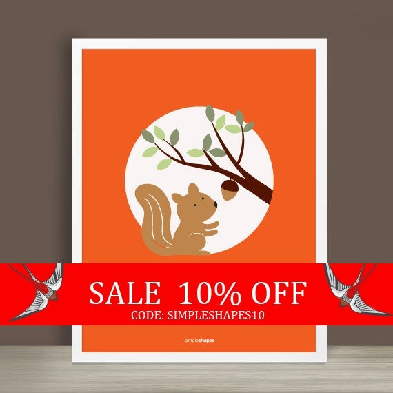 Sale - Custom Baby Print - Forest Friends - Squirrel - 8.5 x 11 inches