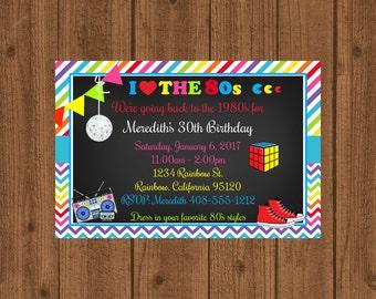 1980er Jahre Geburtstagsparty 80er Geburtstags Einladung, Einladung, 1980  Tafel Einladung, Druckbare