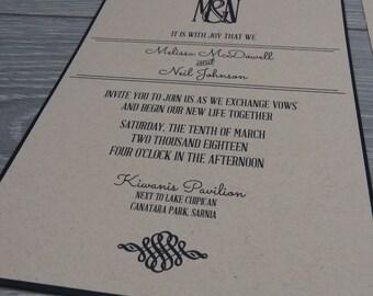 Rustic Wedding Invitation, Kraft Wedding Invitation, Black & Kraft Invitation, Modern Wedding Invitation, Kraft Paper, Linen Cardstock