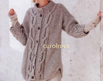 Knitting Pattern Download - Ladies Oversized Cable Jacket Car Coat PDF