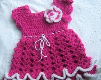 Download Ripples n Ruffles Crochet Dress PATTERN #49 - Newborn to 12 months Easy skill level
