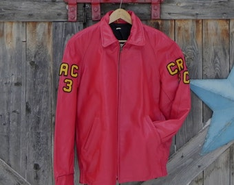1980's, leather, varsity jacket, University of Guelph, men's size large.