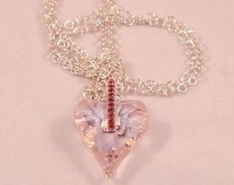 Swarovski Rosaline Heart Pendant Necklace On Sterling Silver Chain