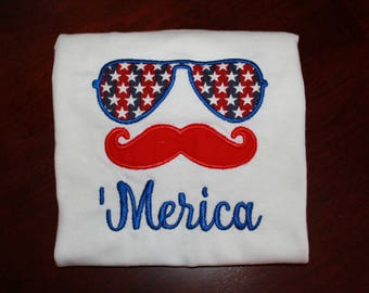 Merica Boy T-shirt Onesie Shirt Fourth of July Independence Day Aviator Glasses 'Merica 4th of July