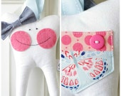 Tooth Fairy Pillow with Bow (Butterfly)-READY TO SHIP