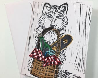 Limited edition Red Riding Hood Wolf block printed lino card