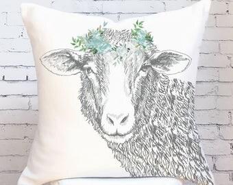 Farmhouse Decor Floral Sheep Pillow Cover in Teal