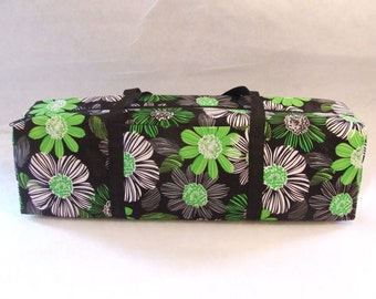 Carrying Case for the Cricut Explore / Cricut Explore Air / Silhouette Cameo 2 or 3 / Brother ScanUCut/ Lime Green and Black Large Flowers