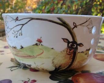 Silly Sheep! Large Ceramic Yarn Bowl / Yarn Holder
