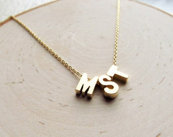 Monogram Necklace Gold, Letter Necklace, Personalized Jewelry Gift, Three Initial Necklace, Customizable Jewelry, Customized Gift for Her,