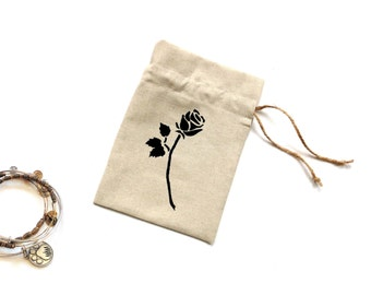 Linen fabric gift bag, hand painted rose, 5 x 7 inches drawstring pouch, Mothers day gift, gift bag for her, birthday gift bag, black rose