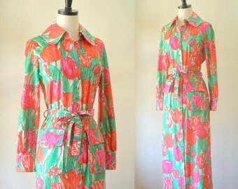 Vintage 1970s Maxi Dress Floral Maxi Dress with Sleeves Maxi Dress Summer Womens Summer Dress Long Dress with Sleeves Size Medium