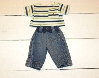 Jeans and Striped Tshirt - 14 - 15 inch boy doll clothes