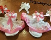 Boutique Custom Made OOAK Fancy Feet Sarin, Lace and Pearls Choice of Color Ruffle Socks