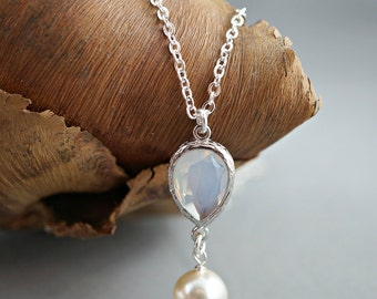 Bridal necklace, Bridesmaid necklace, Wedding jewelry, Cubic zirconia pastel opal white teardrop, Sterling silver chain, Pendant necklace