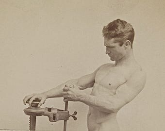Bare Chest Nude Man with Machinery Male Standing Muscular Arms Torso from 1890s Victorian Cabinet Card Body Builder Photography Photo Print