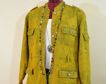 Gold Petite Large Denim JACKET - Yellow Gold Dyed Upcycled Vintage Bill Blass Denim Military Jacket - Adult Womens Size P Large (44 chest)