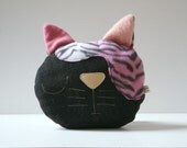 cat decorative pillow, nap pillow,plush, children's room decor, baby nursery, black, pink  wool, printed fabric, eco-friendly gift