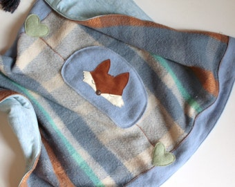 eco-friendly baby wool blanket,quilt,play mat, reclaimed wool,leather fox design, blue, turquoise,cream,crib blanket,baby shower gift