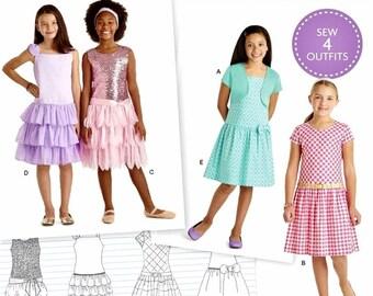 American Girl Dress Pattern, Girls' Ruffle Dress Pattern, Girls' Sundress with Knit Shrug Pattern, Sz 3 to 8, Simplicity Sewing Pattern 8349