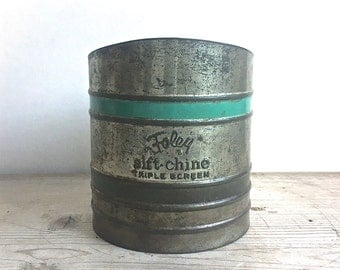 Vintage Sifter Foley Sift Chine Triple Screen Tin Aqua Green Stripes Retro Kitchen Country Farm