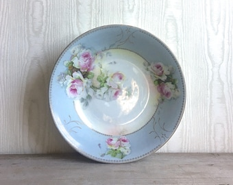 Vintage Bone China Dish Austria HUB Powder Blue Pink Roses Cottage Chic Shabby
