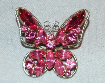 Large Butterfly Rhinestone Brooch,  Pink Silver Tone, old jewelry Vintage