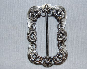 Vintage / Trifari / Sash Pin / Brooch / Large / Silver / Signed / Designer / old jewelry / jewellery
