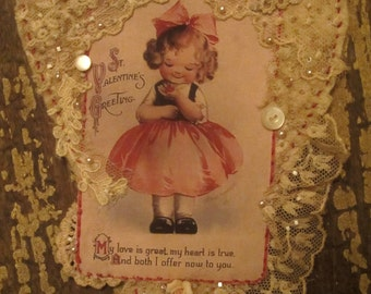 Vintage Image Sweet Valentine Girl Lace Collage Heart Ornament