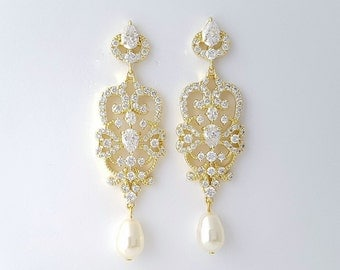 Bridal Gold Chandelier Earrings Vintage Style Gold Wedding Earrings Pearl Cubic Zirconia Bridal Jewelry , Victoria