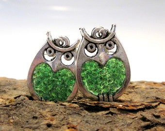 Stained Glass Emerald Owls Earrings, May Birthstone Gift, Custom Colored Birds,  Green Pierced Drop Earrings