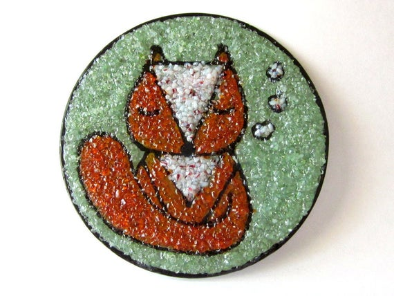 Stained Glass Fox Pocket Mirror, Orange and White