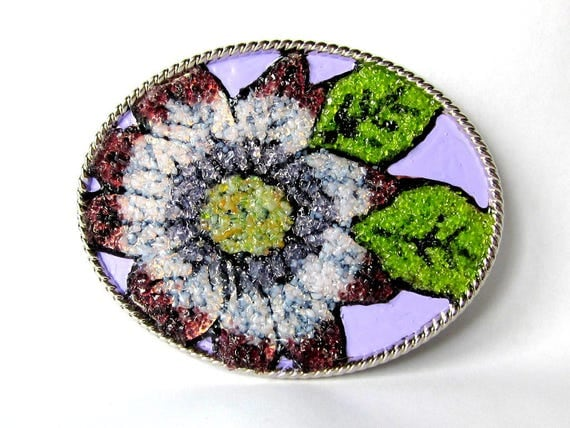 Stained Glass Flower Belt Buckle, Hand Painted
