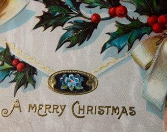 Victorian Christmas Postcard, Holly