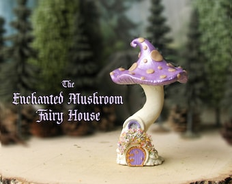 The Enchanted Woodland Mushroom Fairy House - Pearl Purple Capped Woodland Fae House with Golden Spots, Fairy Door & Flowering Window Box