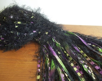 Black Purple Green Eyelash Yarn Scarf, Women's Accessory, Long Fringe Scarf, Ribbon String Scarf,  Pansy