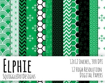 Digital Printable Paper for Cards, Crafts, Art and Scrapbooking Set of 12 - Elphie - Instant Download - Bright Green, Black, and White