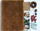 Sewing teddy bear KIT, BROWN fabric, set of bear making supplies, fabric for making teddy, glass eyes, ultra suede, threads, disc joints, c