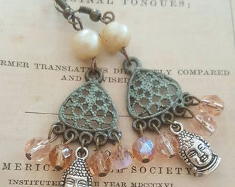 Bohemian Gypsy Buddha Spirituality Jewelry Dangle Earrings Upcycled Recycled Zen